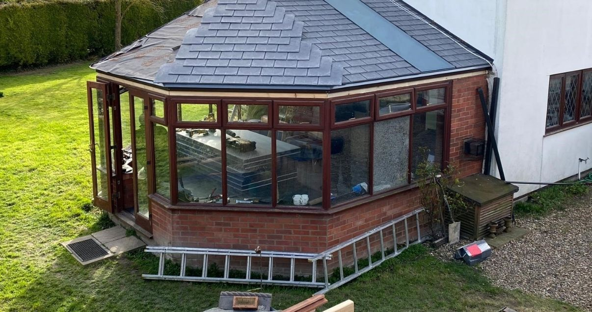 installing conservatory roof tiles on Guardian Warm Roof