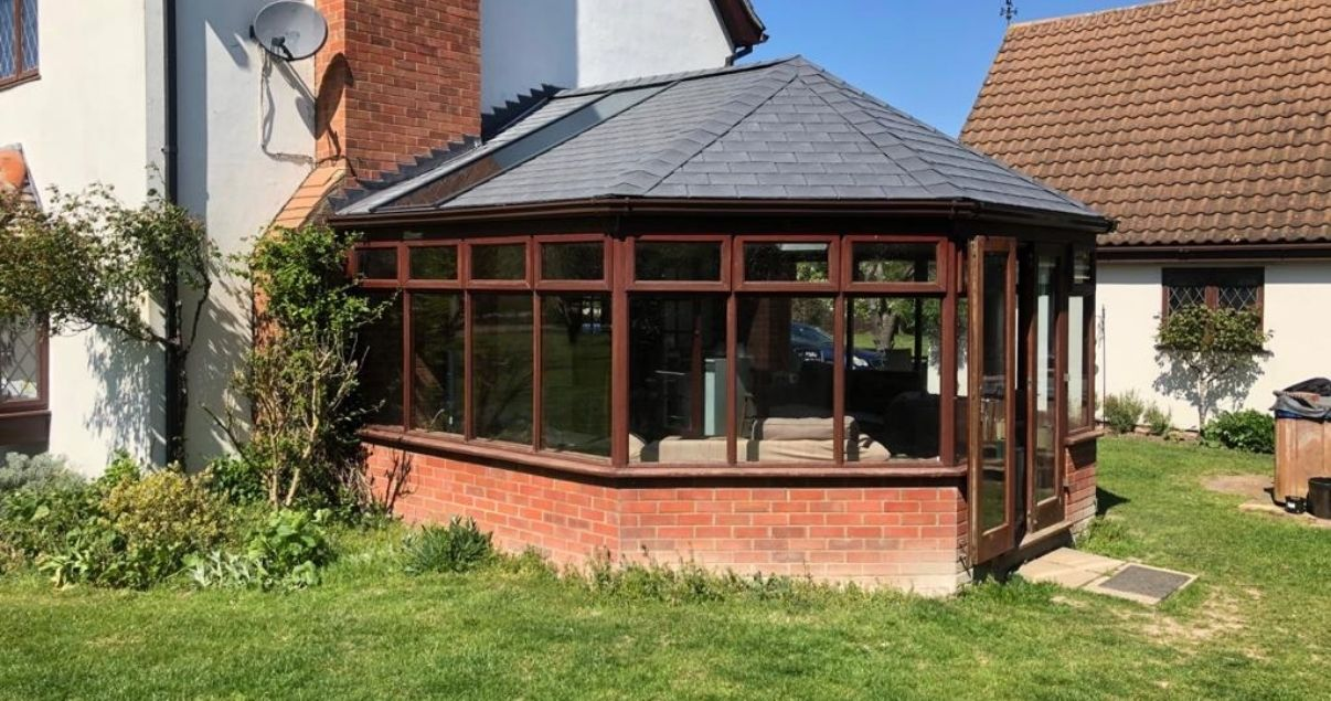 side view of a successful guardian warm roof conservatory roof replacement